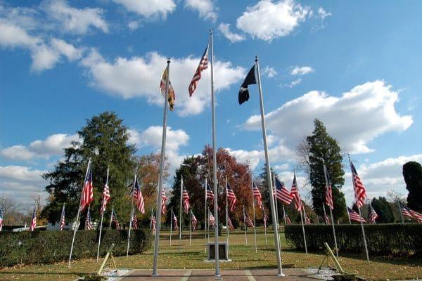 A Veterans War Memorial Park with flags