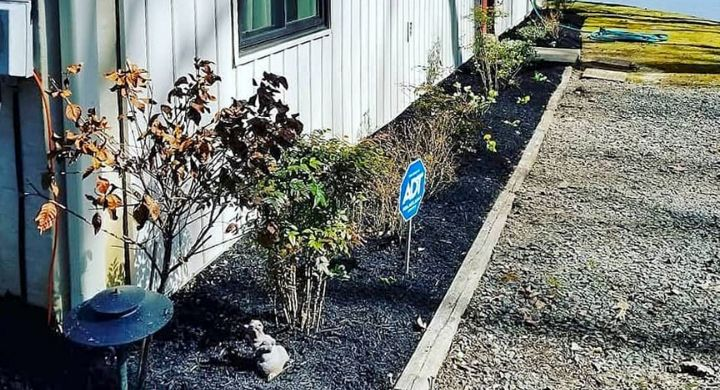 Mulch Bed along the side of metal building