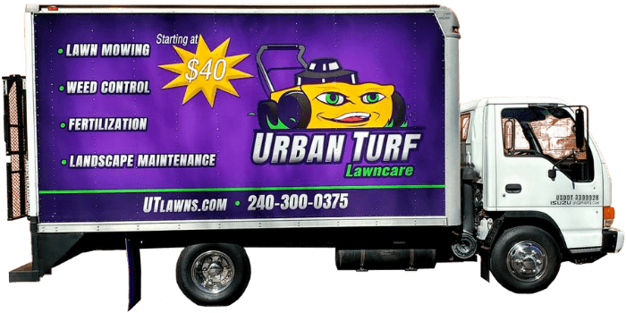 Urban Turf's branded box truck for performing lawn services in Maryland.